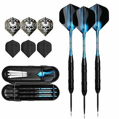 3Stück Steel Darts Pfeile Set, 23Gramm Profi Steeldarts mit Metallspitze Schwarz