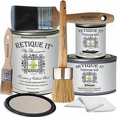 Retique It Chalk Furniture Paint by Renaissance Deluxe Starter Kit Wax 11 Ala...