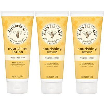 NEW Burts Bees Baby Bee Fragrance Free Lotion 6 Ounces Pack of 3 FREE SHIPPING