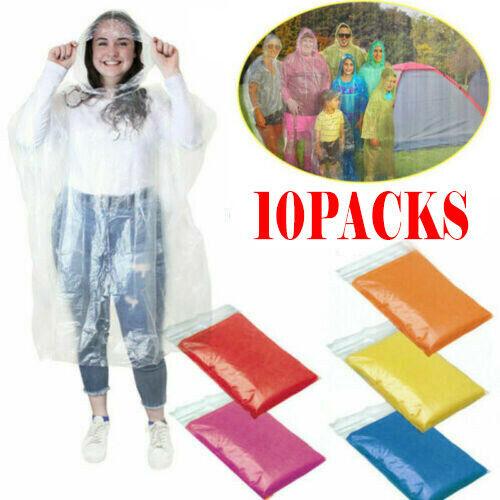 10PC Unisex Raincoats Disposable Adult Emergency Rain Coat P