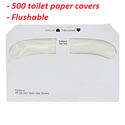 500 Sheets Toilet Seat Covers Disposable Flushable Half Fold
