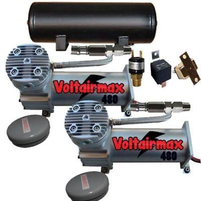 AirRide Compressor Package Dual voltairmax Black 480 9 Gallon air Tank 200psixzx