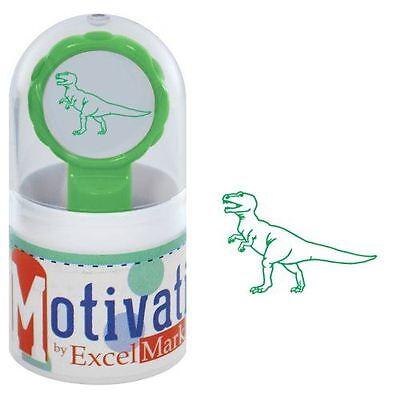 New Excelmark Motivations Pre Inked Teacher Stamp Dinosaur T-rex Green Ink