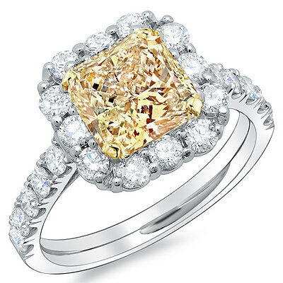 2.02 Ct Radiant Cut Canary Halo Diamond Engagement Ring GIA VS1 Fancy Yellow 18K
