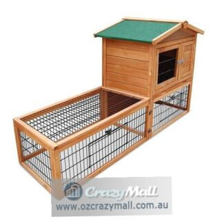 2 Storey Wooden Rabbit Hutch with Built-in Ramp