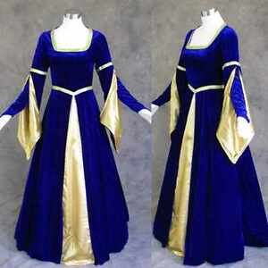 Medieval-Renaissance-Gown-Dress-Costume-BLUE-Wedding-2X