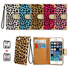 Leather Patterned Mobile Phone Wallet Cases with Strap for Apple iPhone 5