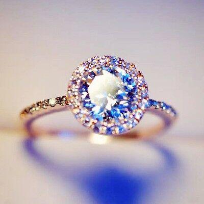 Rose Gold gp Round Cut lab Diamond Wedding Engagement Halo Anniversary Ring Sz 6