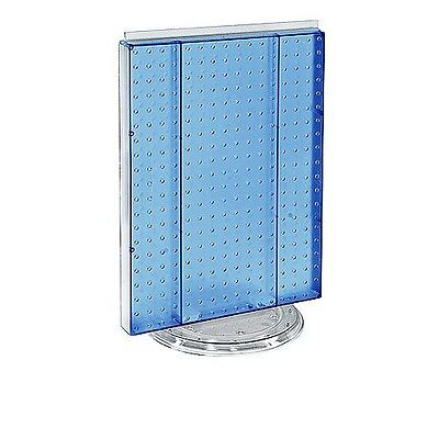 16 W X 20 H Blue Counter Top Rotating Pegboard Tower Display Unit