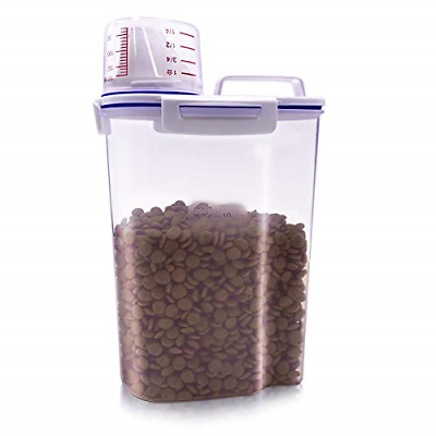 Pet Food Storage Container Small Dog Airtight Plastic Dispenser Graduated Cup...