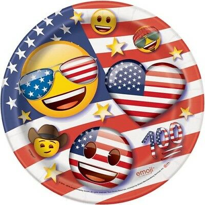 4TH OF JULY EMOJI SMALL PLATES (8) ~ Party Supplies Fourth Cake Dessert Paper ()