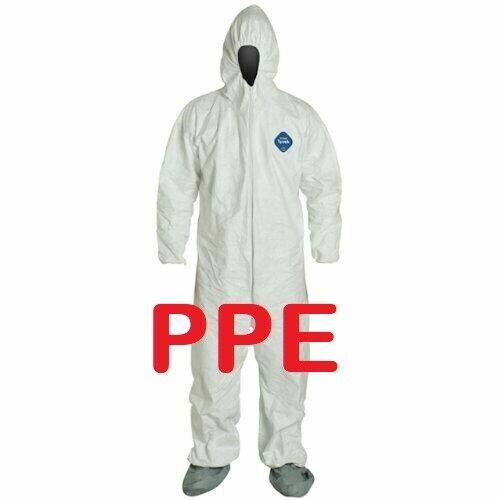 DuPont Tyvek TY122SWH PPE Coverall Bunny Suit Hood & Boots MEDIUM