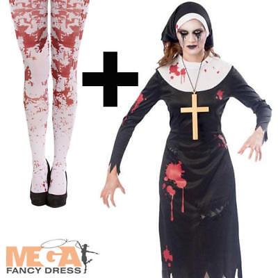 Zombie Nun + Blood Tights Ladies Fancy Dress Adults Womens Halloween Costume