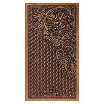 Justin Brown Wallet (Justin Western Mens Wallet Rodeo Leather Tooled Weave Floral Brown 1920566W1)
