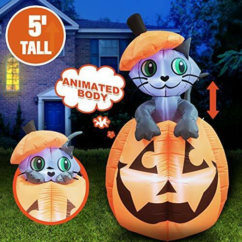 Halloween Inflatable Animated Kitty Cat On Pumpkin Inflatable Yard Decoration