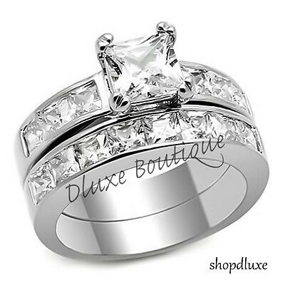 Ring - 3.75 Ct Princess Cut AAA CZ Stainless Steel Wedding Ring Set Women's Size 5-10
