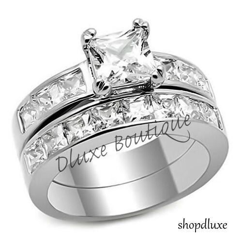 3.75 Ct Princess Cut Aaa Cz Stainless Steel Wedding Ring Set Women