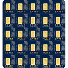 25 g Gold Sheet Bar - Lady Fortuna - 25 x 1 g Bars - .9999 Au - Pamp Suisse