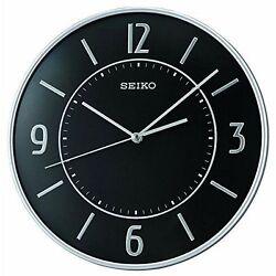 Seiko 12 inch Diameter Wall Clock Black Dial Elegant Modern No Tick Noise QXA642
