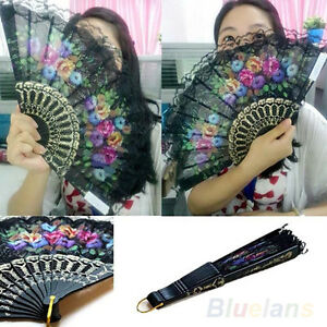 SPANISH FLORAL FABRIC LACE FOLDING HAND DANCING WEDDING PARTY DECOR FAN BEAUTY