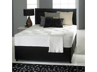 NEW RYNER DIVAN BLACK OR GREY BED WITH MATTRESS IN ALL SIZES