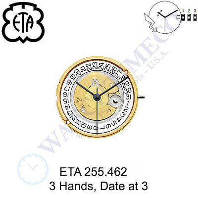 Genuine ETA 255.462 Watch Movement Swiss 3 Hands, Date at 3