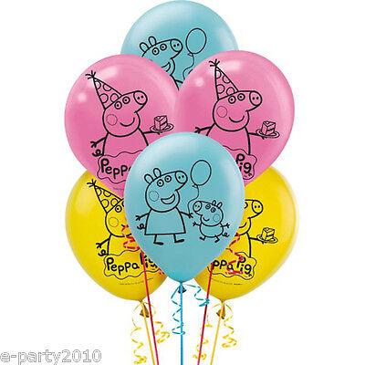 PEPPA PIG LATEX BALLOONS (6) ~ Birthday Party Supplies Decorations Nickelodeon (Peppa Pig Birthday Balloons)