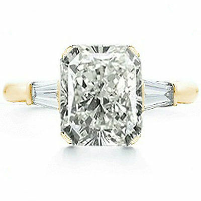 2 carat center Radiant cut Diamond Engagement Solitaire Gold Ring SI1 clarity ()