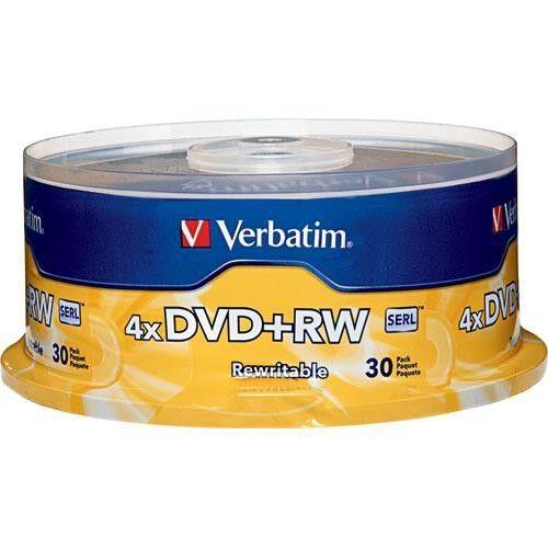 30 Verbatim Blank 4X DVD+RW Logo Branded 4.7GB Rewritable DVD Disc 94834