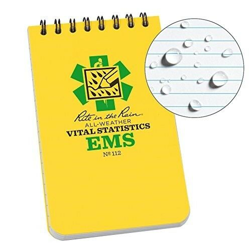 "Rite in the Rain Weatherproof EMS Notebook 3"" x 5"" Yellow Cove Vital Stats New"