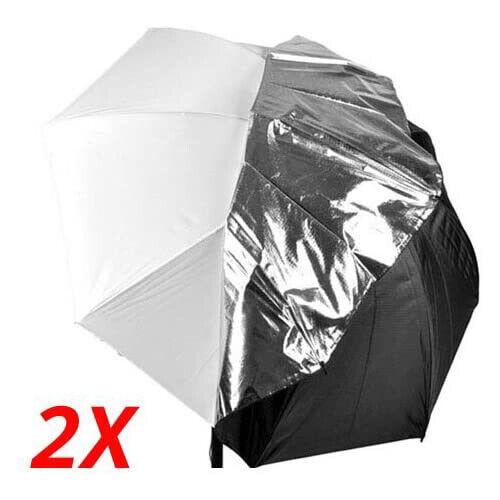 """2 x 40"""" Photo Studio Black white detachable Umbrella Video Flash"""