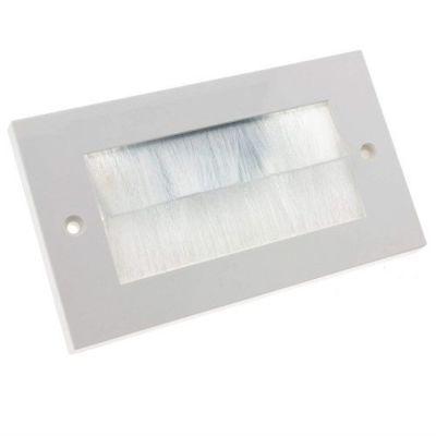 Placa frontal rectangular para salida cable pared Blanco - G