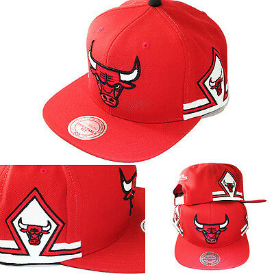Mitchell & Ness Chicago Bulls Red Snapback Hat Team Jersey Diamond Pattern Cap