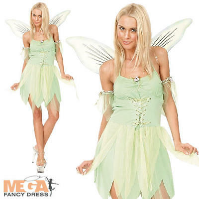 Tinkerbell Fairy + Wings Ladies Fancy Dress Fairytale Neverland Womens Costume