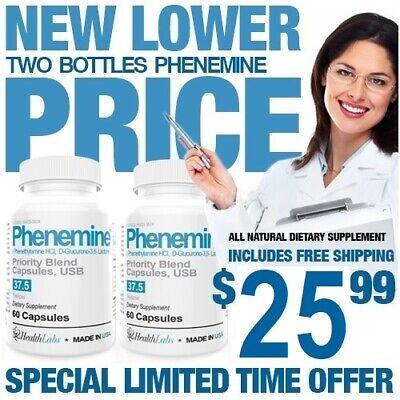 2 Phenemine Max Unisex Appetite Suppressant Diet Pills That work for Men &