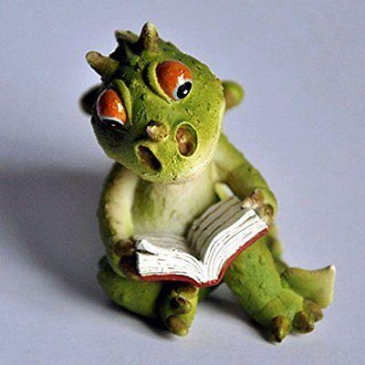 "2.25"" Dragon Reading Fairy Garden Terrarium Dollhouse Miniature Small Figure"