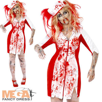 Plus Size Zombie Nurse Costume (Zombie Nurse Ladies Halloween Plus Size Fancy Dress Womens Horror Adult)