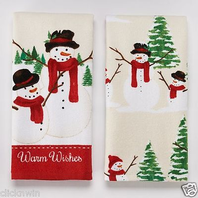 2 St. Nicholas Square Kitchen Dish Towels Snowmen Warm Wishes Christmas TreesNWT