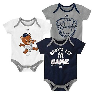 (New York Yankees 3pc Creeper Set Infant Baby Bodysuit Charge 1st)
