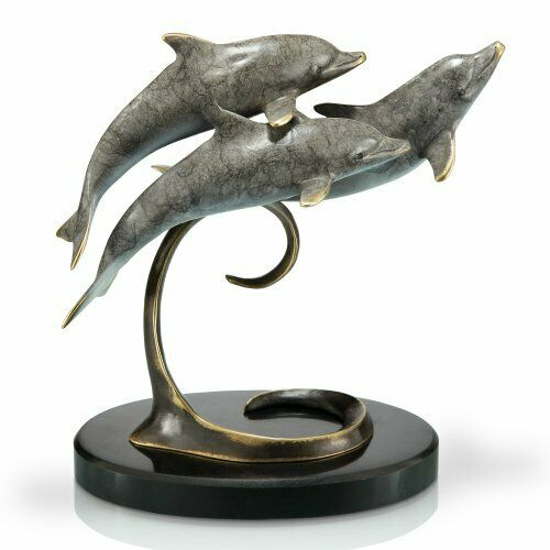 Brass Triple Dolphins on Marble Base