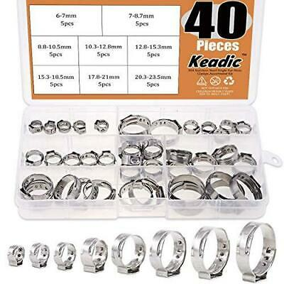 40pc Stainless Steel Single Ear Hose Clamps Clips Pex Pinch Clamp Assortment Kit