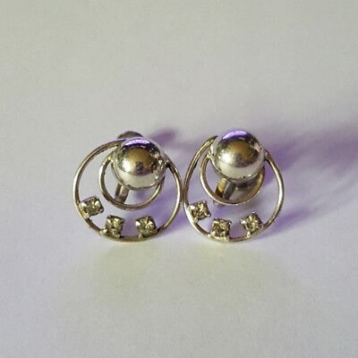 Vintage 50's Art Deco with Clear Stones Screw Back Fashion Earrings