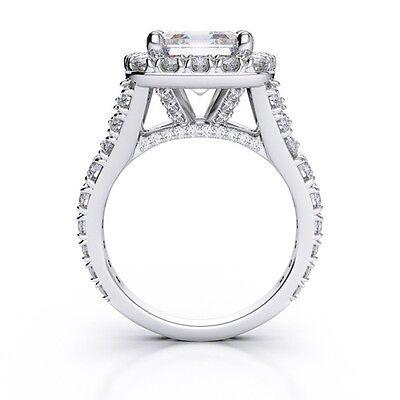 2.50Ct Halo Asscher Cut Split Shank U-Setting Diamond Engagement Ring I,VVS2 GIA 1