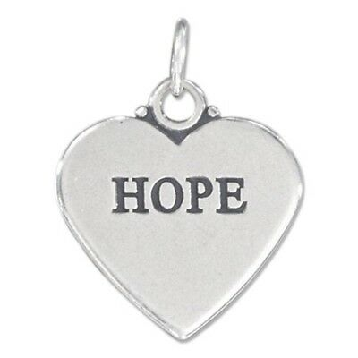 HOPE Heart .925 Solid Sterling Silver Charm Pendant Two Sided *NEW*