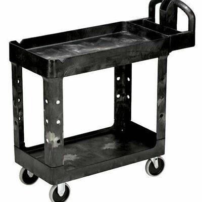 Rubbermaid Commercial Prod. Heavy-duty Utility Cart Two-shelf Black