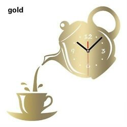 Fresh Wall Clock Coffee Cup Shaped Decor Kitchen Wall Clocks Living Room GOLD