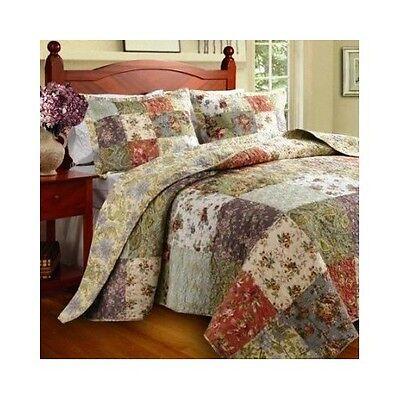 Full Queen Size Quilt Set Home Bedding Reversible Cotton 2 Shams Multi Color New New Home Queen Size Quilt