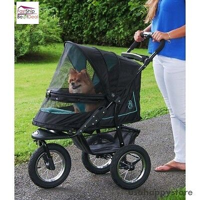 Pet Stroller Carrier Dog Cat Large Storage Basket 3 Wheel No Zip Jogging Travel