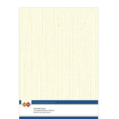 (EUR 4,81/m²) Leinenkarton 10xA4-Bogen creme 02