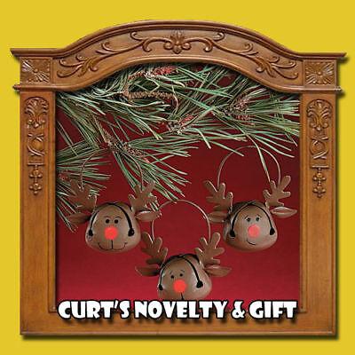 SET OF 12 JINGEL BELL REINDEER ORNAMENTS Christmas Tree